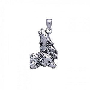 Wolf Pair Silver Pendant TP901