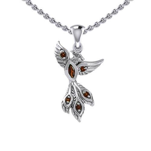 Alighting breakthrough of the Mythical Phoenix Silver Pendant with Gems TPD5407