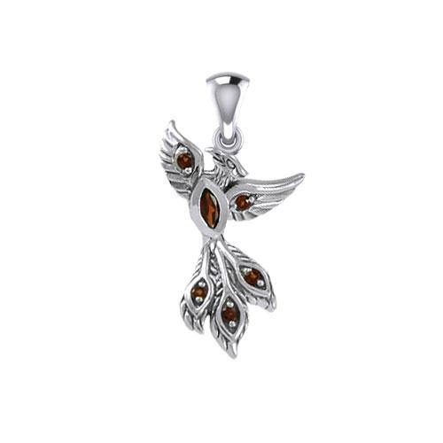 Alighting breakthrough of the Mythical Phoenix Silver Pendant with Gems TPD5407 peterstone.