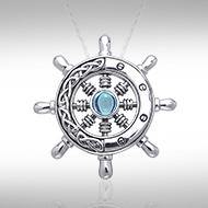 Large Celtic Ship Wheel ~ Sterling Silver Pendant Jewelry TPD069
