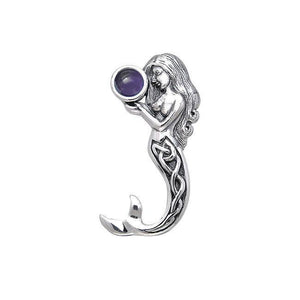 Gentle melody of the Celtic Mermaid Under the Sea ~ Sterling Silver Jewelry Pendant with Gemstone TPD080 peterstone.