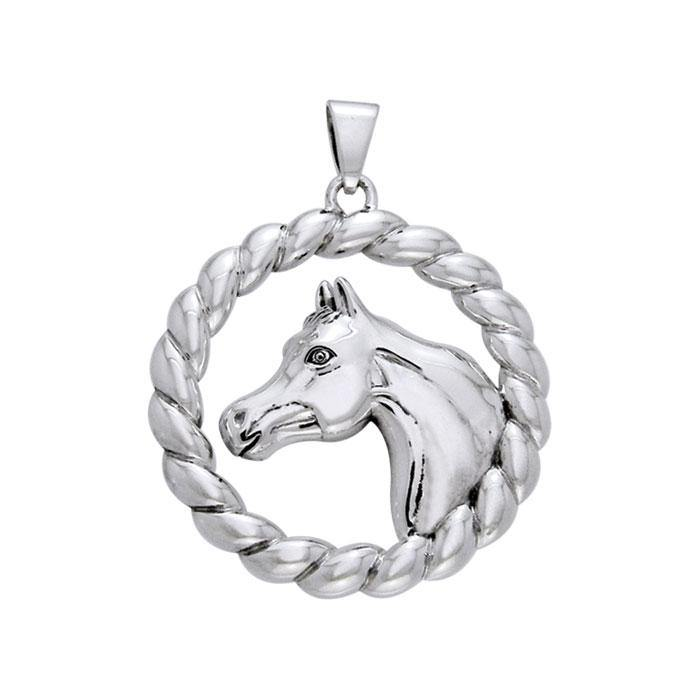 Arabian Horse in Rope Braid Silver Pendant TPD1082
