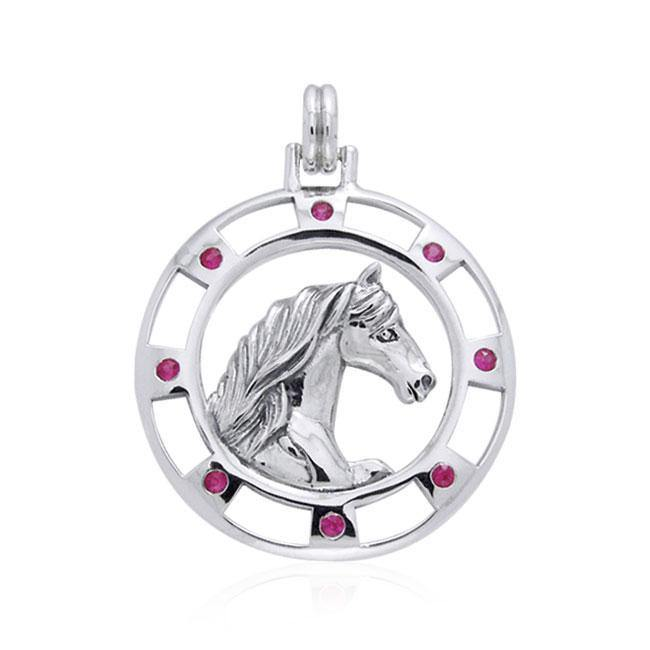 Friesian Horse and Gems Silver Pendant TPD1084