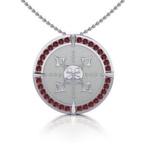 Viking Warrior Shield of Inspiration ~ Sterling Silver Pendant Jewelry with Garnet Gemstones TPD1189