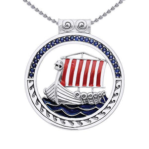 The journey to the Seven Seas ~ Viking Ship Sterling Silver Pendant Jewelry TPD1191