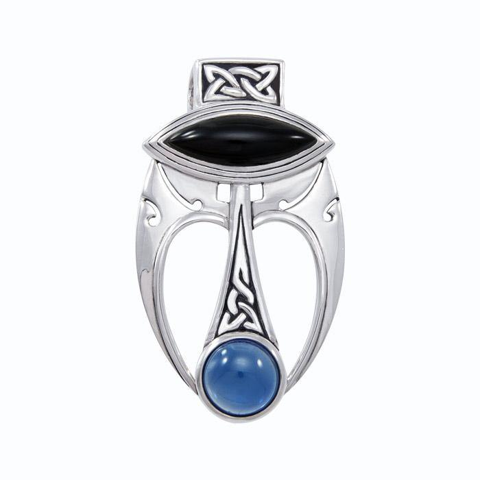 An elegant fusion of art ~ Sterling Silver Celtic Maori Pendant with Gemstone Centerpiece TPD1213 peterstone.