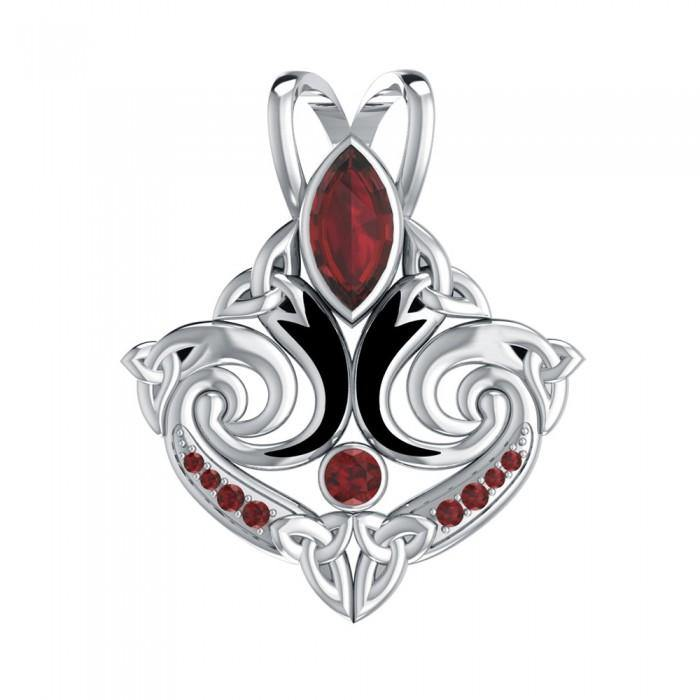 Look beyond your lifes endless journey Silver Triquetra Pendant with Gemstone TPD1273 peterstone.