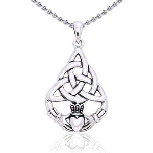 Celtic Triquetra with Claddagh Silver Pendant TPD2239