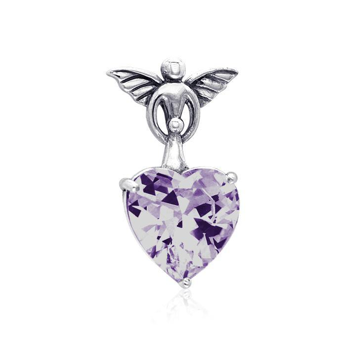 Gentle touch by the Wings of an Angel ~Sterling Silver Jewelry Pendant with a Heart-shaped Gemstone TPD2347