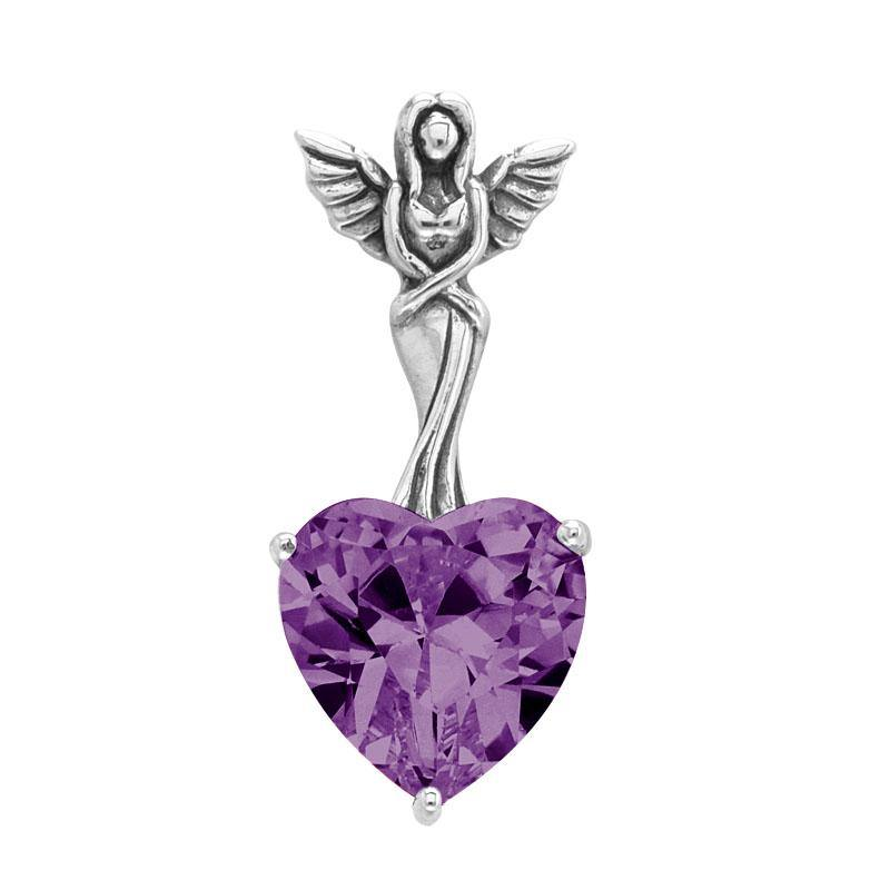Elegance of the Earth Angel ~ Sterling Silver Jewelry Pendant with Heart-shaped Gemstones TPD2348