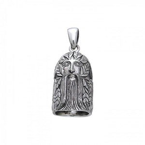 Green Man Sterling Silver Bell Pendant TPD259 peterstone.
