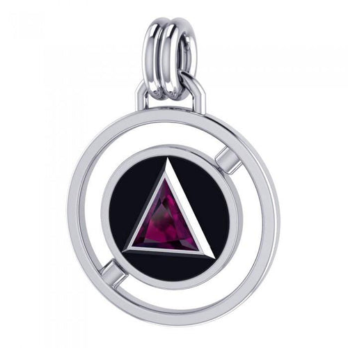 Double Circle AA Symbol Silver Pendant TPD305 peterstone.