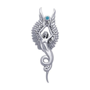 Captured by the Grace of the Angel Phoenix ~ Sterling Silver Jewelry Pendant with Gemstone TPD3266