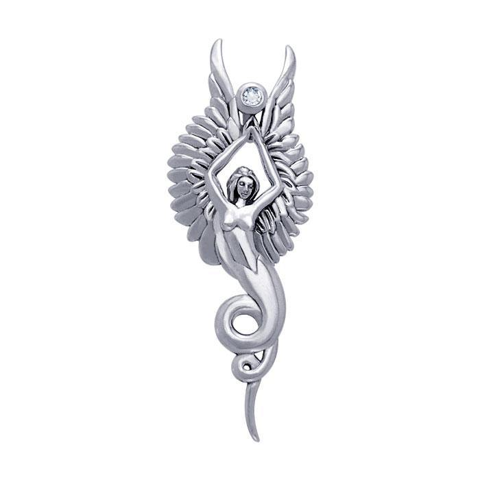 Captured by the Grace of the Angel Phoenix ~ Sterling Silver Jewelry Pendant with Gemstone TPD3266 peterstone.