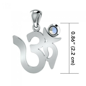 Om Sterling Silver Gemstone Pendant TPD3286 peterstone.