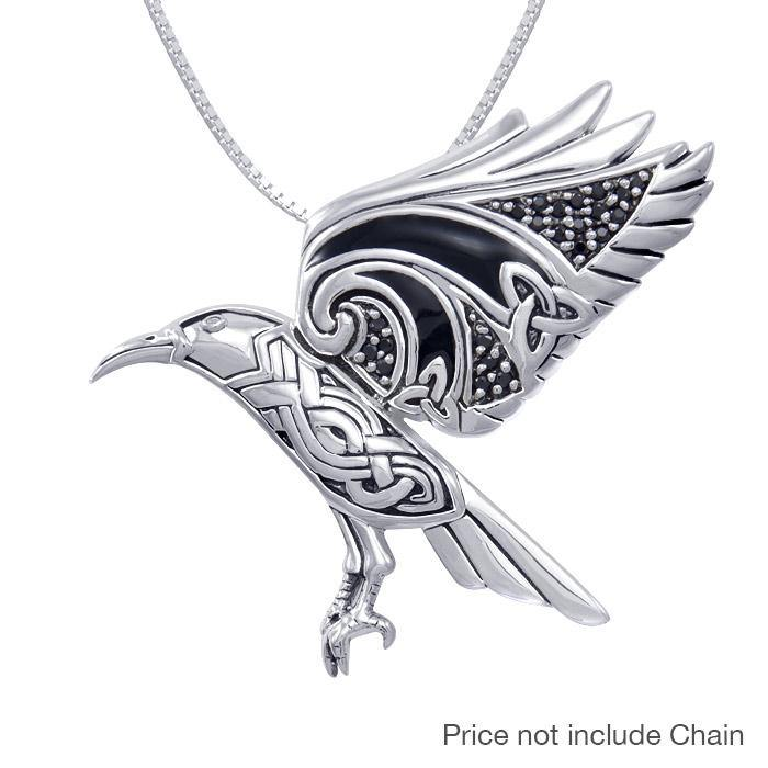 Behind the Mystery of the Mythical Raven ~ Silver Jewelry Pendant TPD3382 peterstone.