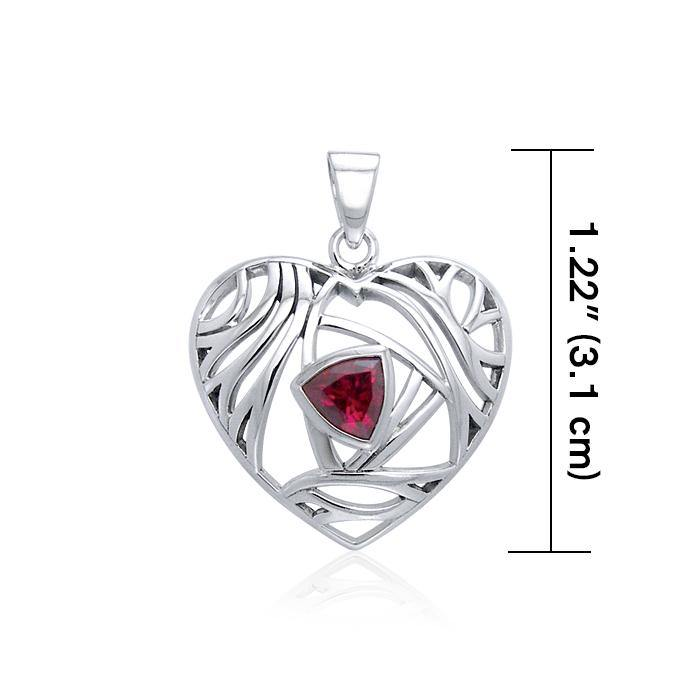 Contemporary Silver Heart Pendant with Gemstone TPD3478 peterstone.