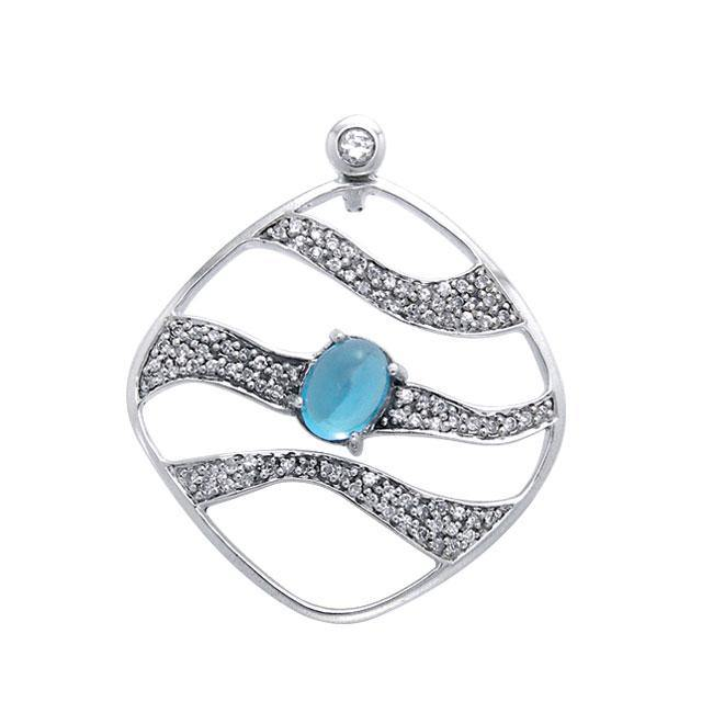 Contemporary Silver Pendant with Wave Motif Gemstone TPD3493