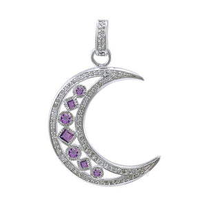 Chakra Moon Sterling Silver with Gemstones Pendant TPD3494 peterstone.
