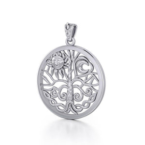 The Tree of Life in its Never-ending journey ~ Sterling Silver Jewelry Pendant TPD3543 peterstone.
