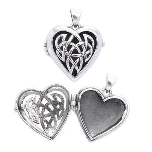 Celtic Heart Aroma Silver Locket Pendant TPD3545 peterstone.