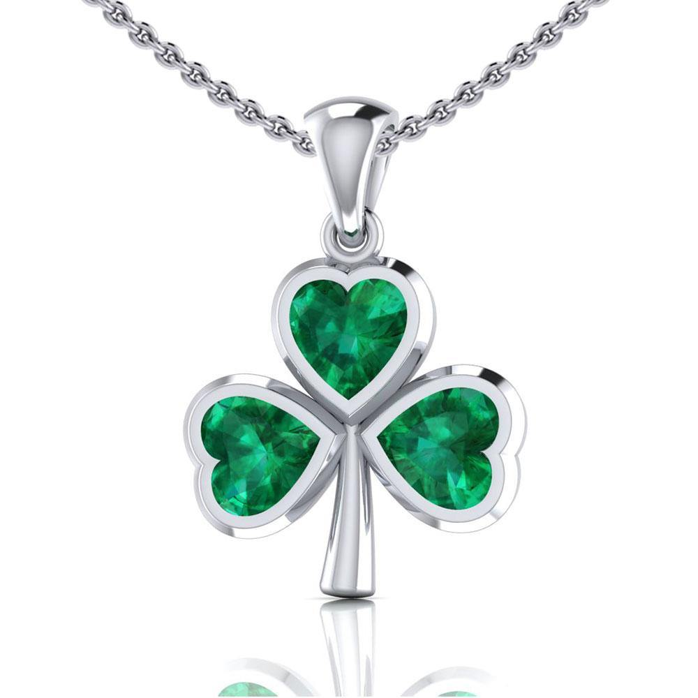 The unsurpassed fascination in a Shamrock ~ Sterling Silver Jewelry Small Pendant with Gemstones TPD3563