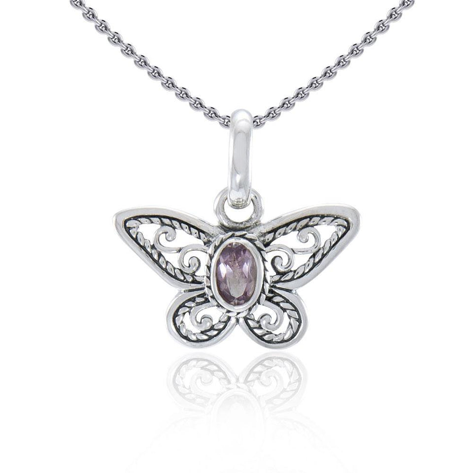 Life's colorful transformation ~ Sterling Silver Jewelry Butterfly Pendant with Gemstone TPD3685