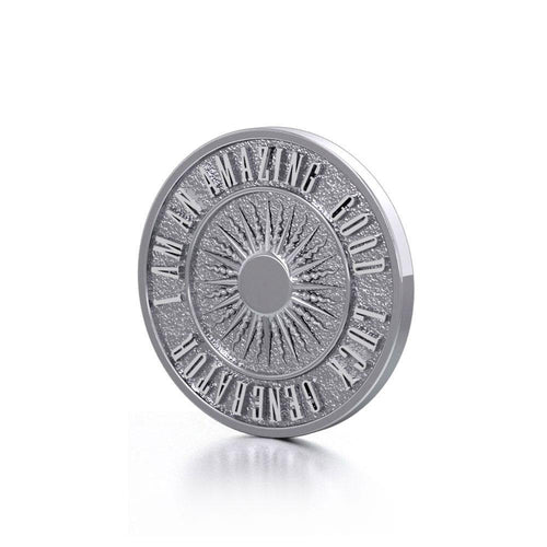 Beautiful I am an Amazing Good Luck Generator Silver Small Empower Coin TPD3728 peterstone.