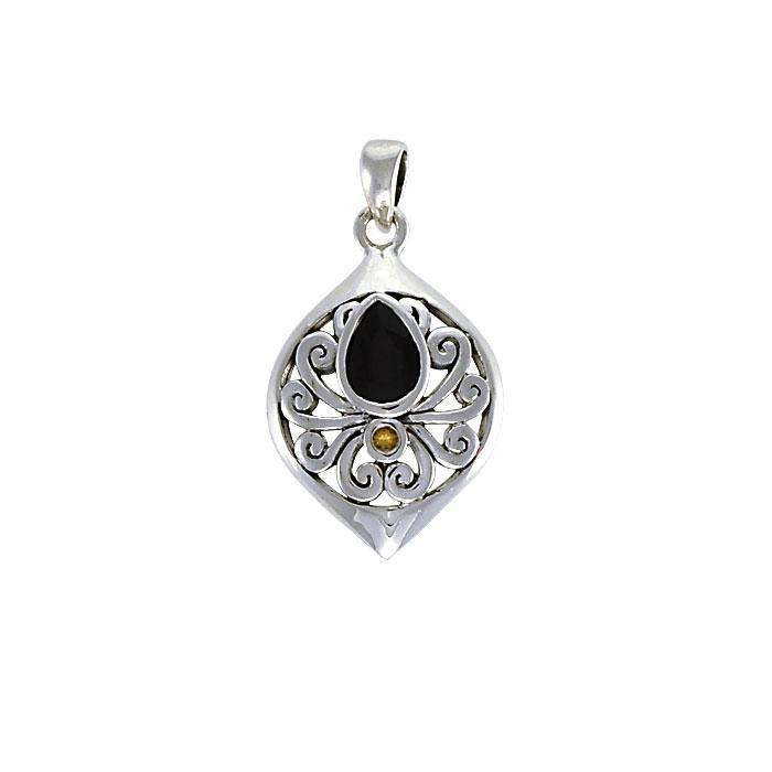 Contemporary Silver Pendant with Teardrop Gemstone TPD3800 peterstone.