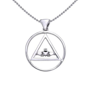 Claddagh AA Symbol Silver Pendant TPD386 peterstone.