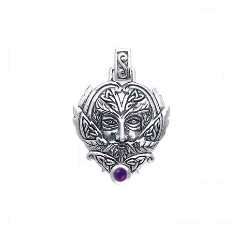 Green Man Silver Pendant TPD391 peterstone.