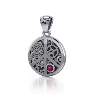Keep an eye on the powerful steampunk ~ Sterling Silver Pendant with a Gemstone TPD3926 peterstone.