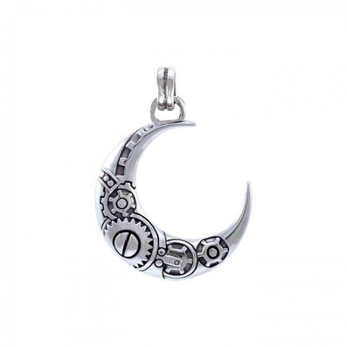 Steampunk Crescent Moon Sterling Silver Pendant TPD3959 peterstone.