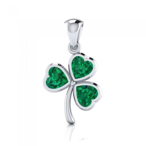 Today is your lucky day! ~ Sterling Silver Jewelry Shamrock Pendant TPD3961 peterstone.