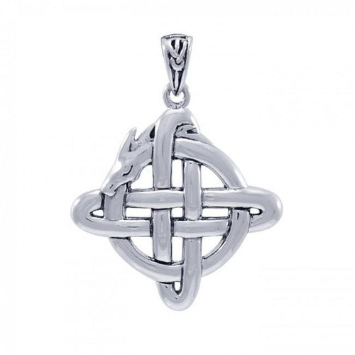Cari Buzik Dragon in Celtic Knotwork ~ Sterling Silver Jewelry Pendant TPD4041 peterstone.