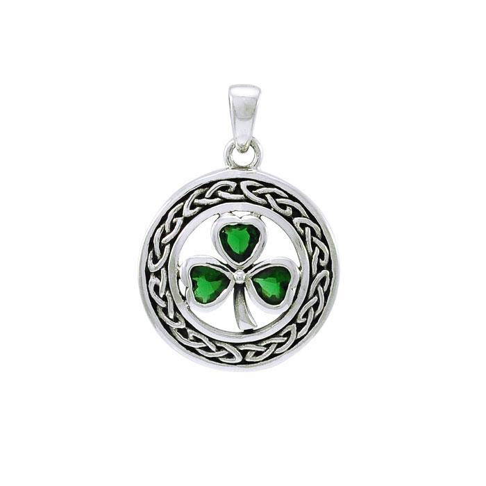 May happiness come through your door ~ Sterling Silver Jewelry Celtic Shamrock Pendant TPD4127 peterstone.