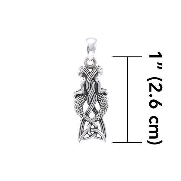 Celtic Mermaid Goddess Sterling Silver Pendant TPD4153 - Peter Stone Jewelry