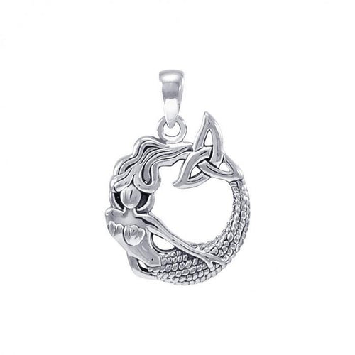 Mermaid with Trinity Knot Sterling Silver Pendant TPD4154 peterstone.