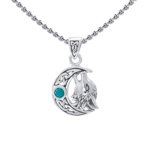 Sterling Silver Wolf with Celtic Moon Pendant TPD4290 peterstone.