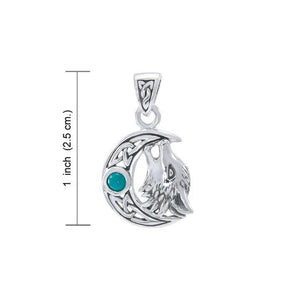 Sterling Silver Wolf with Celtic Moon Pendant TPD4290