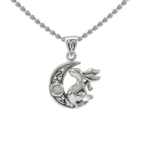 Rabbit on Crescent Moon Silver Pendant TPD4291 peterstone.