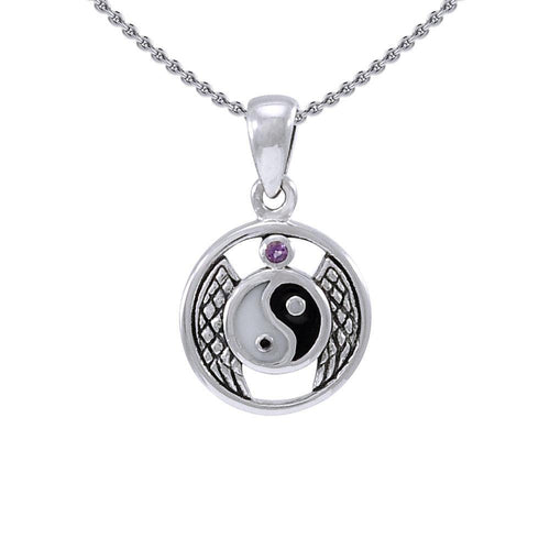 Winged Yin Yang Silver Pendant TPD4308 peterstone.