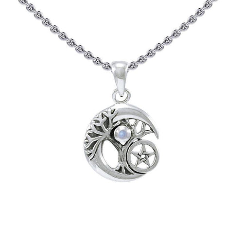 Crescent Moon Tree of Life with Star Silver Pendant TPD4311 peterstone.