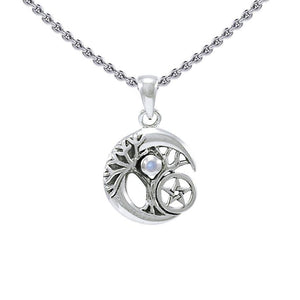 Crescent Moon Tree of Life with Star Silver Pendant TPD4311