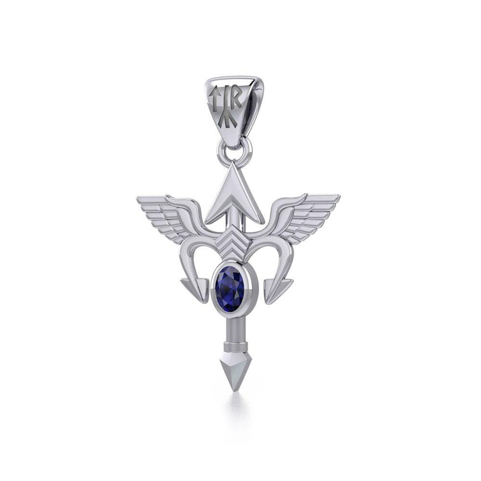 Viking Rune Tyr God Silver Pendant with Gemstone TPD4392 peterstone.