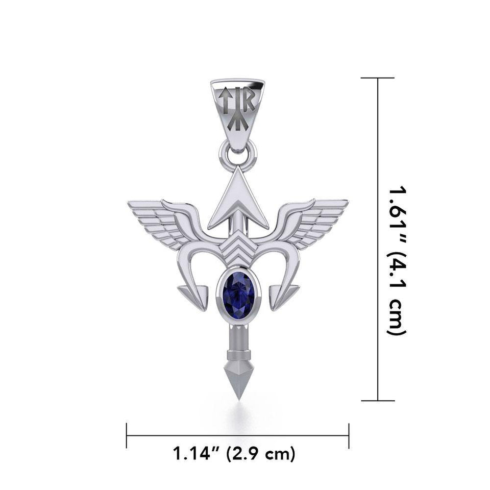 Viking Rune Tyr God Silver Pendant with Gemstone TPD4392