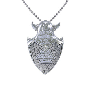Viking Valknut Shield Silver Pendant TPD4395 peterstone.