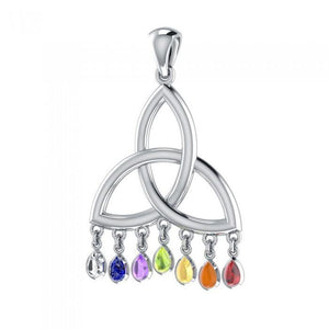 Celtic Triquetra Knot Silver Pendant with Chakra Gemstone TPD461 peterstone.