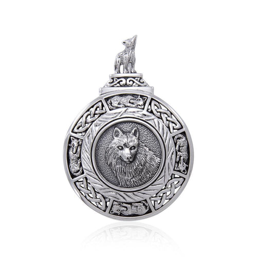 Celtic Wolf Medallion Pendant TPD4629 peterstone.