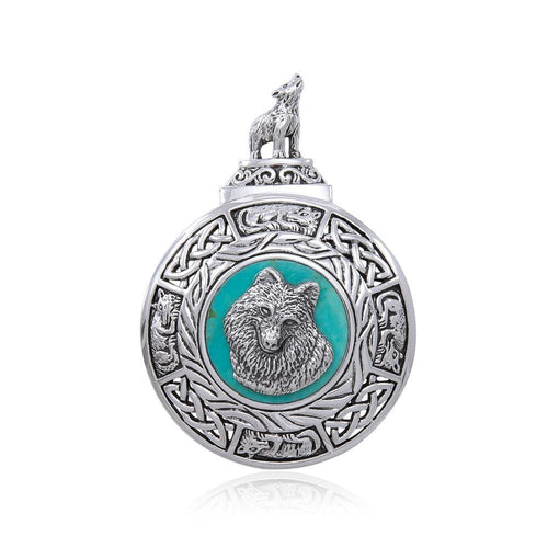 Celtic Knot Wolf Medallion Pendant TPD4630 peterstone.